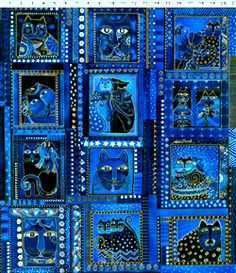 Laurel Burch Felines. Blue Panel Cats