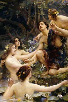 """""""Hylas and the Water Nymphs"""" by Henrietta Rae.    When the ship of the Argonauts reached the island of Cios, Hylas, the young and handsome companion of Hercules, was sent ashore in search of water. He discovered a fountain, but the nymphs of the place were so enchanted by his beauty that they pulled him to the depths of their watery abode, and in spite of the cries of Hercules which made the shores reverberate with the name Hylas, the young man was never seen again."""