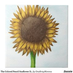 The Colored Pencil Sunflower Drawing Ceramic Tile.  By One Artsy Momma #sunflower #sunflowers #sunflowerdrawing #sunflowerdrawings Sunflower Colors, Sunflower Art, Sunflower Illustration, Sunflower Drawing, Wall Art Prints, Canvas Prints, Wildlife Paintings, Floral Wall Art, Etsy Shop