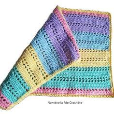 ... mes créas Un Grand Marché · Couverture bébé, plaid de naissance  multicolore, personnalisable, fait main au crochet, d97d4364d13