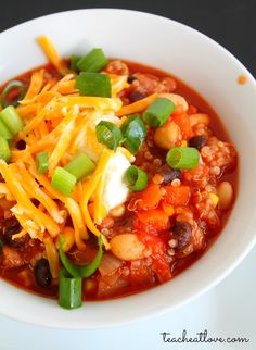 vegetarian chili with quinoa, four kinds of beans, green chiles, and lots of yummy.