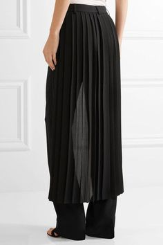 Adam Lippes - Layered Pleated Georgette And Crepe Wide-leg Pants - Black - US10