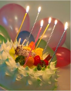 picture of birthday cake with balloon