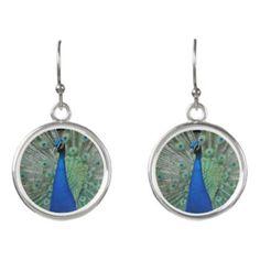 Peafowl Earrings, Peacock Bird Feathers Earrings