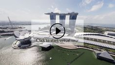 Aerial 360 panorama of Singapore Marina Bay