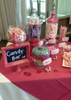baby shower Candy Bar, could find baby themed items and make up baby themed names....  love the use of chalk boards or framed cards with descriptions...