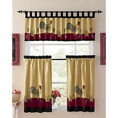 Rooster Tier And Swag Set Burgundy | Curtains | Pinterest | Swag, Kitchens  And Window