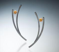 Oxidized Earrings by Ilene Schwartz: Gold, Silver & Stone Earrings available at www.artfulhome.com