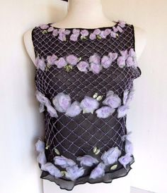 Karen Kane Lifestyle BLACK SILK TANK TOP Purple flowers+beads VGC sz M…