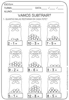 Atividade pronta - Subtração Kindergarten Addition Worksheets, 1st Grade Worksheets, 1st Grade Math, Preschool Worksheets, Math Activities, Math For Kids, Fun Math, Math Drills, Grande Section