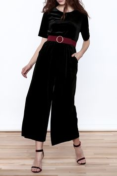 Jumpsuit with short sleeves and wide leg pant.   Velvet Pockets Jumpsuit by Pinkyotto. Clothing - Jumpsuits & Rompers - Jumpsuits Manhattan, New York City Boston, Massachusetts Nolita, Manhattan, New York City