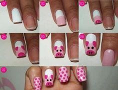 Simple Nail Art Designs tutorial step by step, easy nail art designs by hand for beginners at home , nail art design without tools, Nail Airt by toothpick Pig Nail Art, Pig Nails, Animal Nail Art, Cute Nail Art, Easy Nail Art, Simple Nail Art Designs, Beautiful Nail Designs, Nail Designs For Kids, Nail Art For Kids