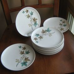 LOT 10  Syracuse China WOODBINE Carefree True China Bread & Butter Plates Leaf #Syracuse