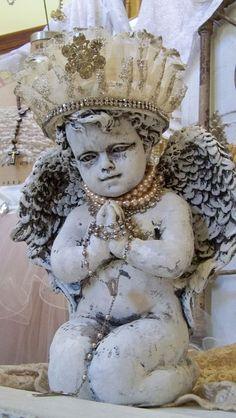 Cherub angel statue shabby chic frilly by AnitaSperoDesign on Etsy, $290.00