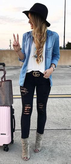 """ff5760373 awesome Inspiration look """"Day to night""""    winter  fashion   Black Hat +  Denim S…"""