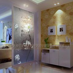 Art glass modern minimalist cabinet screen matte transparent living room entry partition cut off the hall carving lotus Glass Partition Designs, Window Glass Design, Glass Partition Wall, Living Room Partition Design, Living Room Tv Unit Designs, Home Entrance Decor, Pooja Rooms, Glass Art, Crushed Glass