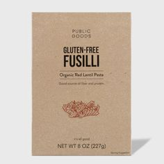 Gluten-Free Fusilli Pasta – Public Goods Lentil Flour, Lentil Pasta, Tomato Basil Pasta Sauce, Pesto Sauce, Dry Soup Mix, Spearmint Tea, Wheat Crackers, English Breakfast Tea, Good Source Of Fiber