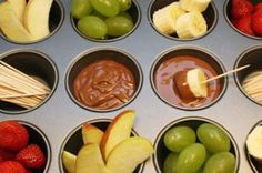 Simple party food idea: Muffin tins are so handy. Chop some fresh fruits, melt some chocolate and and the kids will love you!