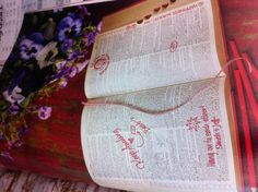 #DBBridalStyle Awesome guestbook idea-- an old dictionary that guests write messages in by the word that reminds them of the bride & groom. For a more personal touch, find a dictionary from the year the bride & groom first started dating.