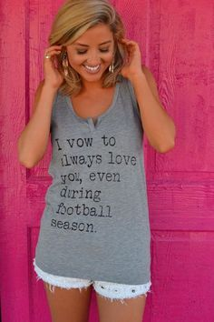 Live Love Gameday I vow to always love you, even during football season! Crafted of a classic cotton jersey fabric, this relaxed-fit Neck Tank is detailed Football Coach Wife, Football Boyfriend, Football Love, Football Season, Football Shirts, Footballers Wives, Football Wedding, Coaches Wife, Sports Mom