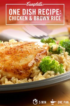 Chicken, broccoli and hearty brown rice come together with only 5 minutes of prep and a delicious Campbell's Cream of Chicken sauce. Because in real real life, sometimes 5 minutes is all you have. Campbell's. Made for real, real life. Campbells Chicken And Rice, Campbells Soup Recipes, Chicken And Brown Rice, Brown Rice Cooking, Brown Rice Recipes, Cooking Recipes, Healthy Recipes, Cooking Games, Meal Recipes