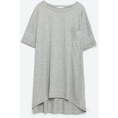Zara Oversized T-Shirt ($16) ❤ liked on Polyvore featuring tops, t-shirts, grey marl, gray tee, zara t shirts, grey top, grey tee and oversized tee