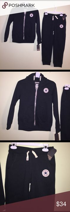 Converse Zip Hoodie w/matching sweatpants NWT Converse Zip Hoodie w/matching sweatpants NWT. Brand New never worn! Nice heavy weight and great quality set. Comes from smoke free and pet free house. Great Find! Set originally sold for $82. I'll consider reasonable offers and you can bundle and save on shipping. Converse Matching Sets