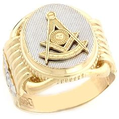 10k Two Tone Real Gold Past Master Freemason Masonic Oval Mans Ring *** Click image for more details.