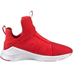 Puma Select Women Kylie Jenner Fierce Core Sneakers ($76) ❤ liked on Polyvore featuring shoes, sneakers, red, red slip on shoes, puma shoes, puma trainers, red trainer and puma footwear