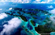 L'archipel de Raja Ampat vu du ciel. (Image d'illustration du site Oceanicliveaboard.com)
