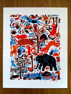 Animal Party limited edition giclee print 48cm x 60cm (11/150)