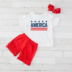 Little Girls America - Shirt and Short Set of July Patriotic-Little Girls America - Shirt and Short Set of July Patriotic Red Hair Bow, Girl Hair Bows, Baby Girl Boutique, Valentines Day Baby, Ruffle Shorts, Short Set, Celebration, Girl Outfits, Cricut