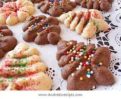 Recipe for holiday chocolate and vanilla cream cheese spritz cookies, an old-fashioned favorite made with a cookie press. Christmas Desserts, Christmas Baking, Christmas Ideas, Christmas Biscuits, Holiday Baking, Christmas Decorations, Spritz Cookies, Sugar Cookies, Cream Cheese Spritz Cookie Recipe