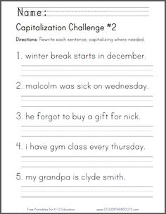 Capitalization Challenge #1 - CCSS for First Grade: L.1.2.a ...