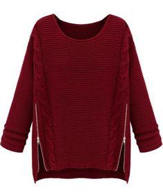 Jersey punto trenza cremallera en lado manga larga-Rojo vino EUR€23.46