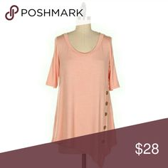 Asymmetrical Top Solid blush colored half sleeve asymmetrical hem tee. 95% rayon 5% spandex. Comes from retailer without tags. Fashionomics  Tops Tees - Short Sleeve