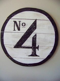 Reclaimed wood Round Number Sign. Hand painted No 4 Sign.  White and black wall decor. Round woodworking Number Sign.
