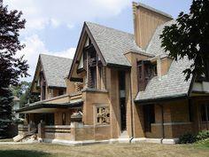 Nathan Grier Moore House. Oak Park, Illinois. 1895, 1922. Early Frank Lloyd Wright. Tudor Rival Style