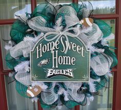 Philadelphia Eagles Midnight Green ,Black And White Deco Mesh Door Wreath by Crazyboutdeco on Etsy