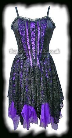 Purple Velvet & Black Lace Gothic Corset Dress - Prom
