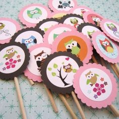 Cute Owl Cupcake Toppers for Birthday or Baby Shower Party - Set of 12