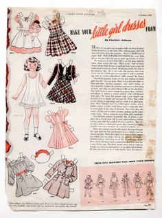 Vintage Ladies' Home Journal Paper Dolls Page 1939 Mary with Little Girl Dresses | eBay