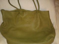 Prada Mustard Green Super Soft Cervo Leather Tote Bag Shoulder Shopper | eBay