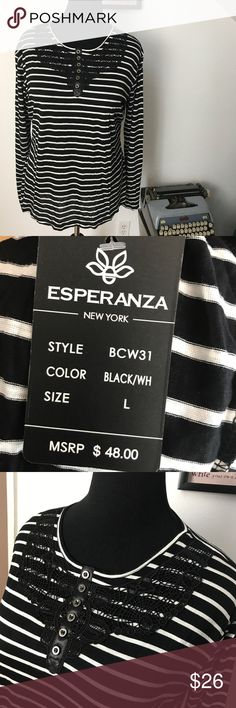 BNWT Esperanza Black and White L/S Tee Super Cute black and white long sleeve tee with detail at neckline Esperanza Tops Tees - Long Sleeve