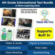 These 5 mini lessons are complete digital lessons with ready to go activities using Google Slides. The simple and consistent layout is made for everyone and has accommodations built right into the activities.Topics in the bundle include: A Pakistani Chef, Urban Dancing, Recycling Plastics, Totem Pol...