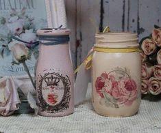 A-set-of-2-Vintage-Shabby-Chic-Painted-French-Decor-Decoupage-Mason-amp-Milk-Jar