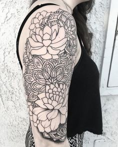 Did some outlining on Samantha's succulent sleeve  can't wait to finish this!