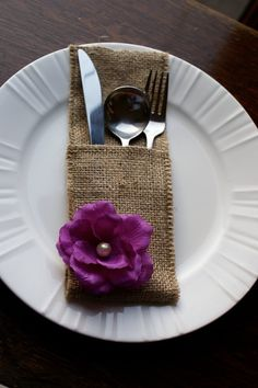 Burlap table settings and white plates...classy