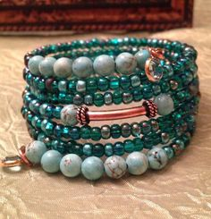 Boho Chic Turquoise and Swarovski 6 Wrap by TheCopperFirefly