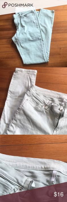 Mint colored LOFT skinny jeans Light mint color. Size 10T. Inseam 31 inches. No signs of wear. LOFT Pants Skinny